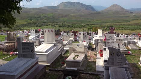 Nice-establishing-shot-of-a-cemetery-in-a-remote-region-of-Albania