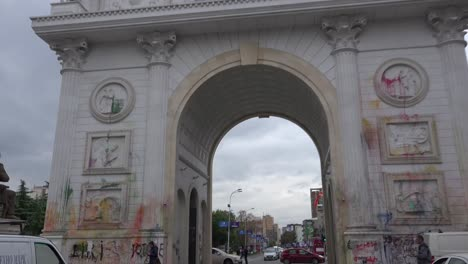 An-Arc-De-Triomphe-like-building-represents-corruption-to-Macedonians-and-they-have-thrown-paint-all-over-it-in-protest