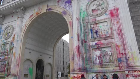 The-Arch-in-Skopje-represents-rampant-corruption-to-Macedonians-and-they-have-thrown-paint-all-over-it-in-protest