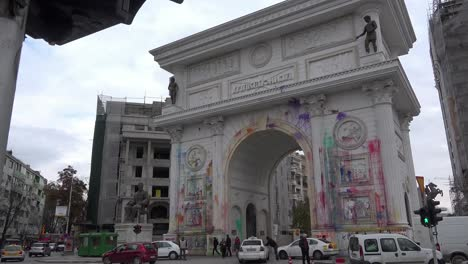 The-Arch-in-Skopje-represents-rampant-corruption-to-Macedonians-and-they-have-thrown-paint-all-over-it-in-protest-2