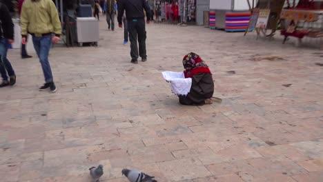 Una-Mujer-Mendiga-Con-Sus-Hijos-En-Las-Calles-De-Skopje-Macedonia
