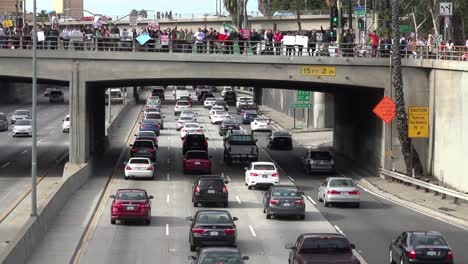 Protestors-against-Donald-Trump-stand-on-an-overpass-in-Los-Angeles