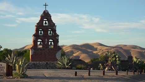 Beautiful-old-California-mission-architecture-at-Mission-San-Miguel-at-sunset