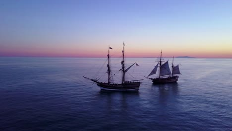 Spectacular-aerial-of-two-tall-sailing-ships-on-the-open-ocean-1