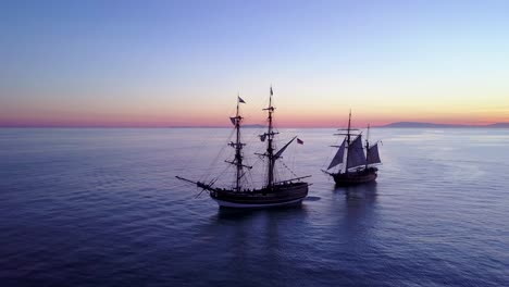 Spectacular-aerial-of-two-tall-sailing-ships-on-the-open-ocean-2