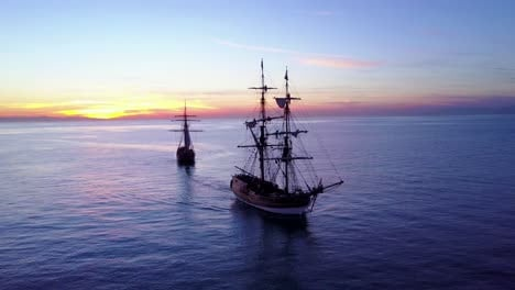 Spectacular-aerial-of-two-tall-sailing-ships-on-the-open-ocean-4
