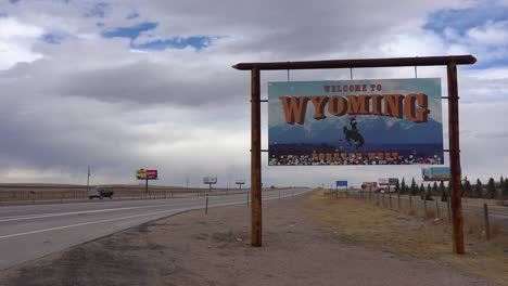 A-sign-welcomes-travelers-to-the-state-of-Wyoming