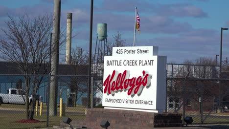 An-establishing-shot-of-Kellogg-s-corporate-headquarters-in-Battle-Creek-Michigan-