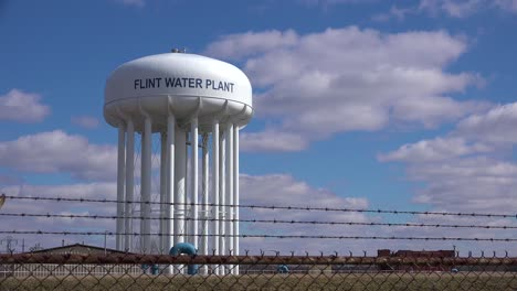 Establishing-shot-of-the-Flint-water-tank-where-contaminated-water-polluted-the-city