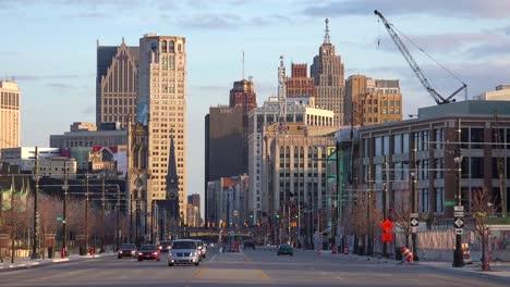 Nice-shot-looking-down-a-broad-boulevard-at-downtown-Detroit-Michigan
