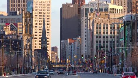 Nice-shot-looking-down-a-broad-boulevard-at-downtown-Detroit-Michigan-1