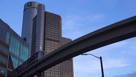Nice-shot-looking-up-at-rapid-transit-train-in-downtown-Detroit-Michigan