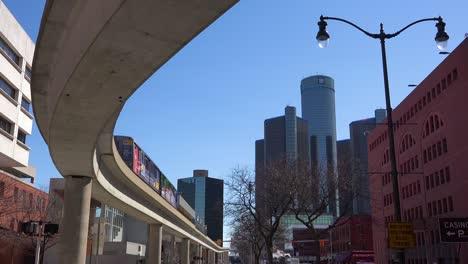 Nice-shot-looking-up-at-rapid-transit-train-in-downtown-Detroit-Michigan-1