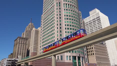 Nice-shot-looking-up-at-rapid-transit-train-in-downtown-Detroit-Michigan-2