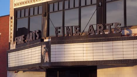 An-empty-movie-theater-marquis-at-the-closed-Fine-Arts-theater-in-Detroit