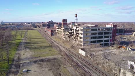 Amazing-aerial-over-the-ruined-and-abandoned-Packard-automobile-factory-near-Detroit-Michigan