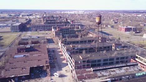 Amazing-aerial-over-the-ruined-and-abandoned-Packard-automobile-factory-near-Detroit-Michigan-3