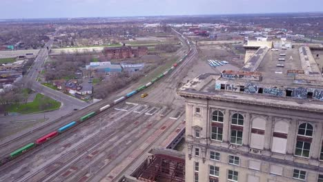Sweeping-aerial-of-the-exterior-of-the-abandoned-central-train-station-in-Detroit-Michigan-1