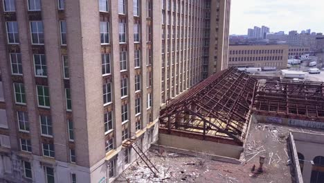 Slow-rising-aerial-of-the-exterior-of-the-abandoned-central-train-station-in-Detroit-Michigan