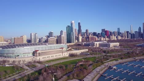 An-aerial-over-Chicago-s-Soldier-Field-and-skyline