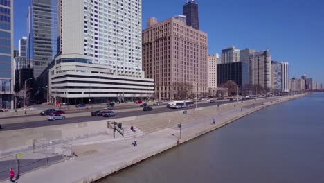 An-aerial-over-Lakeshore-Drive-in-downtown-Chicago