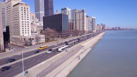 Nice-aerial-along-Lakeshore-Drive-reveals-downtown-Chicago-skyline