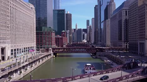 An-aerial-over-the-Chicago-River-in-downtown-Chicago-1