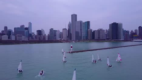An-aerial-over-sailboats-on-Lake-Michigan-with-the-city-of-Chicago-in-the-distance