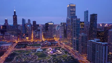 Beautiful-aerial-shots-of-Chicago-Illinois-downtown-city-at-night-3