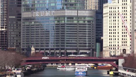 An-establishing-shot-of-the-Trump-Hotel-in-the-downtown-Chicago-loop
