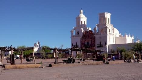 A-beautiful-establishing-shot-of-Mission-San-Xavier-del-Bac-a-historic-Spanish-Catholic-mission-near-Tucson-Arizona