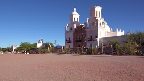 A-beautiful-establishing-shot-of-Mission-San-Xavier-del-Bac-a-historic-Spanish-Catholic-mission-near-Tucson-Arizona-1