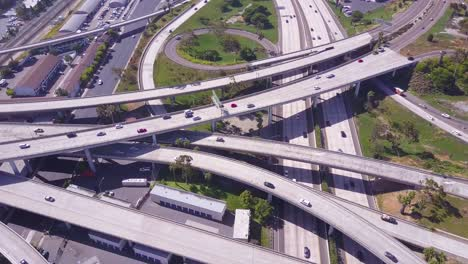 An-excellent-aerial-over-a-vast-freeway-interchange-near-Los-Angeles-California