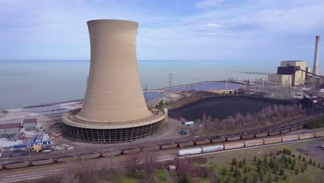 Good-aerial-over-a-nuclear-power-plant-on-Lake-Michigan-2