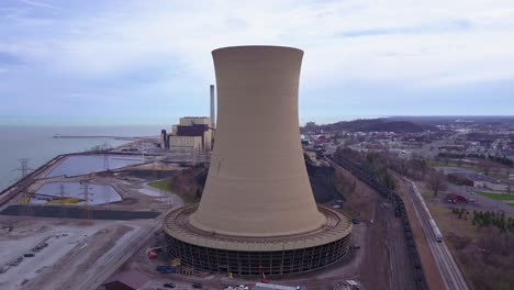 Good-aerial-over-a-nuclear-power-plant-on-Lake-Michigan-4