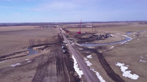 Aerial-over-the-cleanup-efforts-after-a-oil-tanker-train-derailment