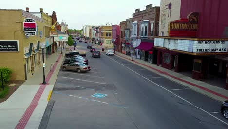 A-rising-aerial-over-a-Main-Street-in-small-town-USA
