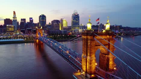 A-beautiful-evening-aerial-shot-of-Cincinnati-Ohio-with-bridge-crossing-the-Ohio-River-foreground-8