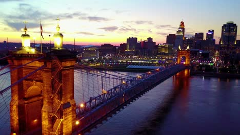 A-beautiful-evening-aerial-shot-of-Cincinnati-Ohio-with-bridge-crossing-the-Ohio-River-foreground-10