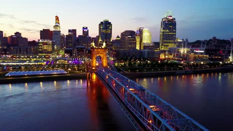 A-beautiful-evening-aerial-shot-of-Cincinnati-Ohio-with-bridge-crossing-the-Ohio-River-foreground-11