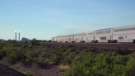 An-Amtrak-train-travels-fast-through-the-desert-southwest-of-Arizona-or-New-Mexico