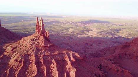 Beautiful-inspiring-aerial-at-sunset-over-rock-formations-in-Monument-Valley-Utah-2