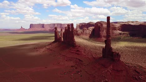 Beautiful-inspiring-aerial-over-spires-and-rock-formations-in-Monument-Valley-Utah