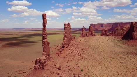 Beautiful-inspiring-aerial-over-spires-and-rock-formations-in-Monument-Valley-Utah-2