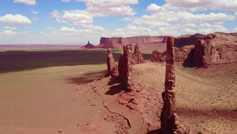Beautiful-inspiring-aerial-over-spires-and-rock-formations-in-Monument-Valley-Utah-4