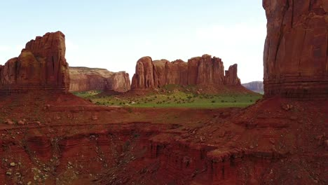 Aerial-through-the-buttes-and-rock-formations-of-Monument-Valley-Utah