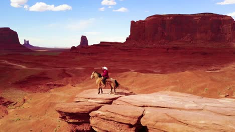 Remarkable-aerial-over-a-cowboy-on-horseback-overlooking-Monument-Valley-Utah-1