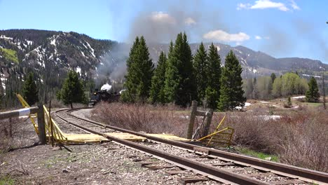 Low-of-the-Cumbres-and-Toltec-steam-train-moving-through-Colorado-mountains-near-Chama-New-Mexico-4