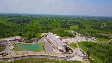 An-aerial-over-a-replica-of-Noah-s-Ark-at-the-Ark-Encounter-theme-park-in-Kentucky