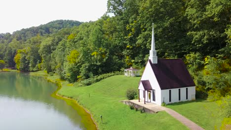 Aerial-over-a-romantic-and-beautiful-small-church-in-the-American-wilderness-West-Virginia-3